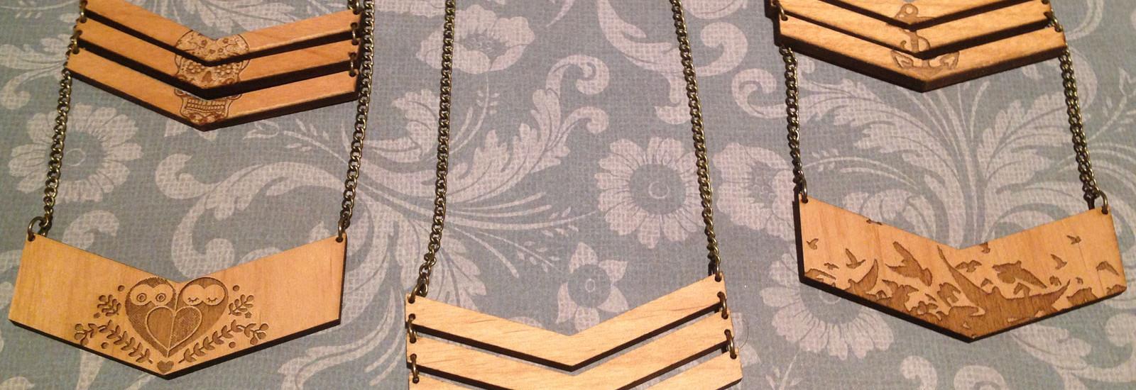 wooden chevron necklaces